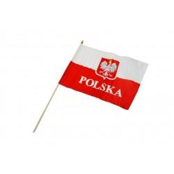 Flaga POLSKA  30x40 cm z uchwytem drewnianym